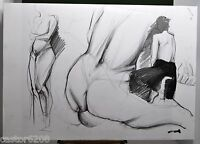 Drawings D' Study Naked Mine Lead 25 3/16x17 11/16in Sign Roesch 6 Leaves W 3