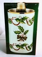 Vintage Holly Holiday Porcelain Christmas Wine Champagne Beer Ice Bucket Cooler