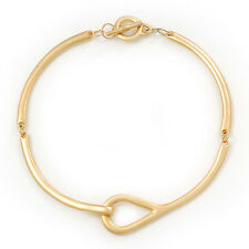 Brushed Gold 'Loop' Choker Necklace With T-Bar Closure - 33cm Length
