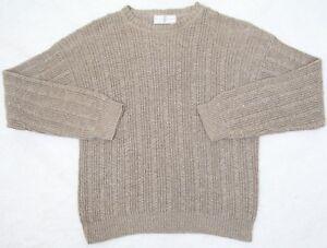 River Trader Sweater Brown / Tan Mens XL Solid Cotton Man Extra Large Crewneck