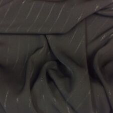 BLACK SUITING FABRIC WITH THIN GREY DOUBLE PINSTRIPE (A03)