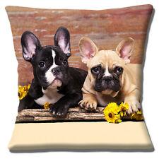 "French Bulldog Puppies Cushion Cover 16""x16"" 40cm Two Cute Black White Fawn Pups"