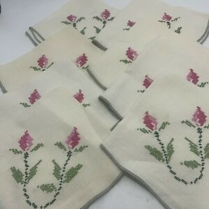 Vintage Lot of 8 Natural Linen Napkins Cross Stitch Embroidered Roses