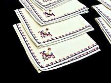 BEAUTIFUL HAND EMBROIDERED ECRU LINEN NAPKINS SET OF 10 UNUSED