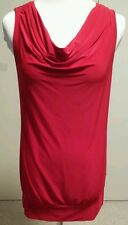 Fashion Junkee Drape Neck Tunic Dress  Sleeveless Top Red New Medium