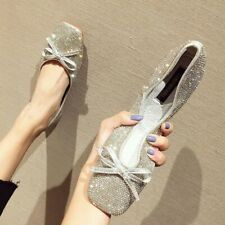 Womens Glitter Rhinestone Bow Knot Square Toe Flat Loafers Oxfords Shoes Slip On