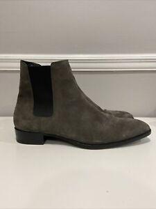 $990 SAINT LAURENT Wyatt Suede Chelsea Boots EU 49 US 16 443208 Grey