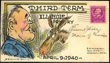 """EDWARD KELLY """"THIRD TERM"""" SIGNED HAND PAINTED COVER BY McINTYRE 4/9/1940 BS8866"""