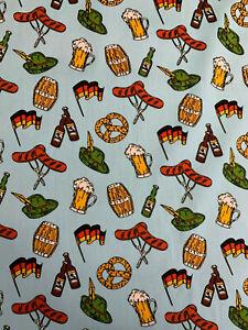 4 Metres  Blue Oktoberfest German Bratwurst Printed 100% Cotton Poplin Fabric.