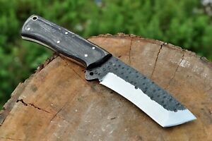 Custom Hand Forged Railroad Spike Carbon Steel Hunting Tanto Skinner' Knife