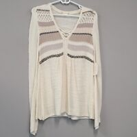 Altar'd State cream BOHO lace up long sleeve lightweight knit top size M NWT