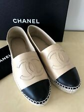 CHANEL BEIGE BLACK LAMBSKIN LEATHER ESPADRILLES SHOES SANDALS LOGO 38 7.5 8 NEW