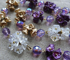 glass flower bead brass wire necklace -R365 art deco 30s style purple gold Czech