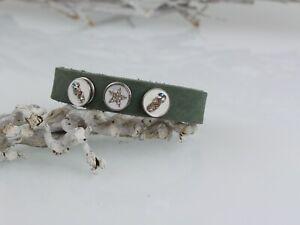 Lederarmband M Clicks mini petite Click Druckknopf Snaps Armband grün weiß 8