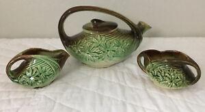 McCoy Pottery Tea Pot With Sugar & Creamer, Daisy/Flower Design, Green, Brown