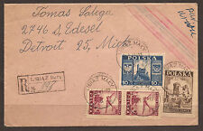 POLAND. 1947. REGISTERED AIR MAIL COVER. LIBIAZ MALY TO USA. 55zl RATING. NEW YO
