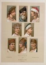 Racinet 5 Lithographies 1888 Costume Russie coiffures Kibitka Kalmouks