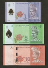 Malaysia  1 / 5 / 10 Ringgit Banknotes Polymer Set Matched Signature UNC