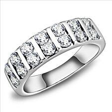 WEDDING/ ETERNITY BAND STAINLESS STEEL STIMULATED DIAMOND  UK J USA 5