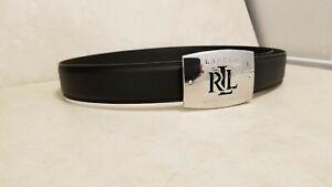 Ralph Lauren Women's Signature Black Leather Belt w/Silver Logo Buckle,New w/Tag