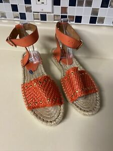 LL New kensie Womens Alista Oranges Low Espadrilles Size 9