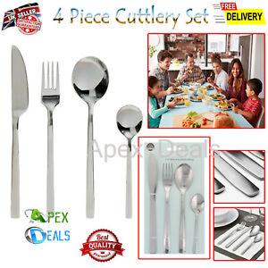 4pcs Stainless Steel Cutlery Set Dining Tableware Fork Spoon Knives Tea Spoons