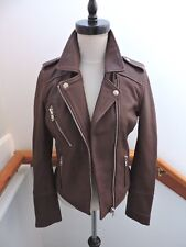 NWT $598 DOMA LEATHER MOTO BIKER JACKET BORDEAUX RED XS (0 2)