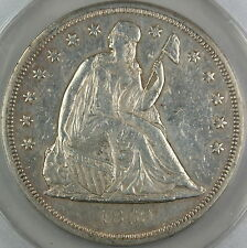 1860-O Seated Liberty Silver Dollar, ANACS AU-53 Details, Scratched - Cleaned