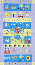 Riverwoods Farm Doodles Panel Pig Cow Sheep Barn Tractor Cotton Fabric PANEL