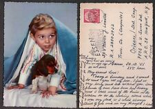1955 Germany Postcard - Little Boy and Beagle Puppy Dog