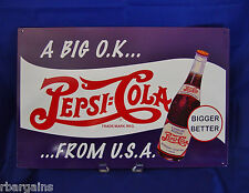 Pepsi Cola A Big OK From USA Soda Metal Tin Sign Vintage Style Bar Retro Decor