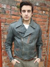 VINTAGE MENS CLASSIC DARK GREY SKINNY FITTED RACER 50s BIKER LEATHER JACKET M 40