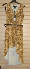 NEW KARDASHIAN KOLLECTION WOMENS SIZE XS 0-2 EXTRA SMALL FAUX WRAP DRESS LEOPARD