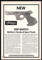 1987 WALTHER OSP Match Pistol PRINT AD UK British Collectible Advertising