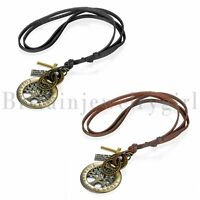2pcs Men Women Tree of Life Pendant Necklace Leather Rope Chain Adjustable