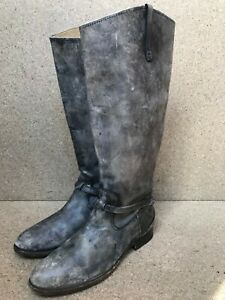 FRYE Boot Lindsay Plate Boot 76975 Size 9 B Knee-High Distressed Gray Leather