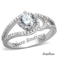 1.65 CT ROUND CUT CZ STAINLESS STEEL ENGAGEMENT RING BAND WOMEN'S SIZE 5-10