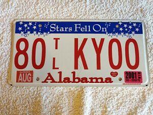 Alabama Stars Fell On 80TLKY00 Genuine Pre-Owned USA American License Plate