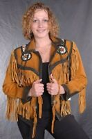 Women Golden Brown Suede Western Style Leather Jacket With Fringe