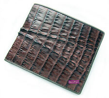 DARK BROWN CROCODILE ALLIGATOR TAIL SKIN LEATHER MEN'S CLASSIC WALLET BRAND NEW