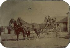 FAMILY SITTING IN HORSE DRAWN CARRIAGE & ANTIQUE OUTDOOR TINTYPE PHOTO