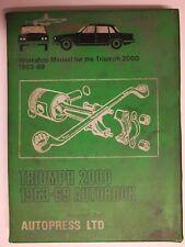 TRIUMPH 2000 1963-69 AUTOBOOK WORKSHOP MANUAL AUTOPRESS LTD Kenneth Ball