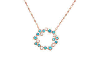 Aquamarine & Cubic Zirconia open circle Necklace With 14k Rose Gold Over Silver