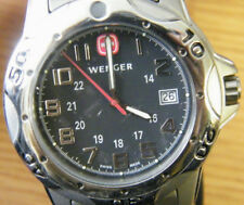 Wenger 72617 Titanium Swiss Army Mountaineer Watch Black Dial Gray Bracelet