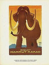 Original vintage poster print MAMMUT CACAO 1920 Hohlwein