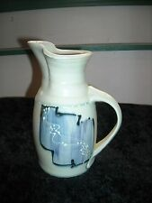 """Pitcher Gray With Blue & White Design Glaxed Pottery 6 1/2"""" Pitcher Signed"""