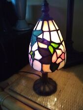 """TIFFANY STYLE STAINED GLASS SMALL (9"""") ACCENT LAMP NIGHTLIGHT PINK GREEN FLOWER"""