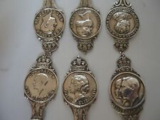 6 x ROYALTY COMMEMMORATIVE STERLING SILVER SPOONS LONDON 1936
