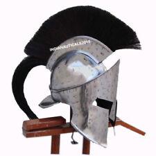 Medieval 300 Armor Helmet With Battle Cross Mark Black Plume LARP Costume