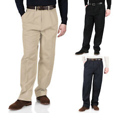 New Mens Chinos Trousers Cotton Casual Twill Pants Smart Formal Straight Leg Fit